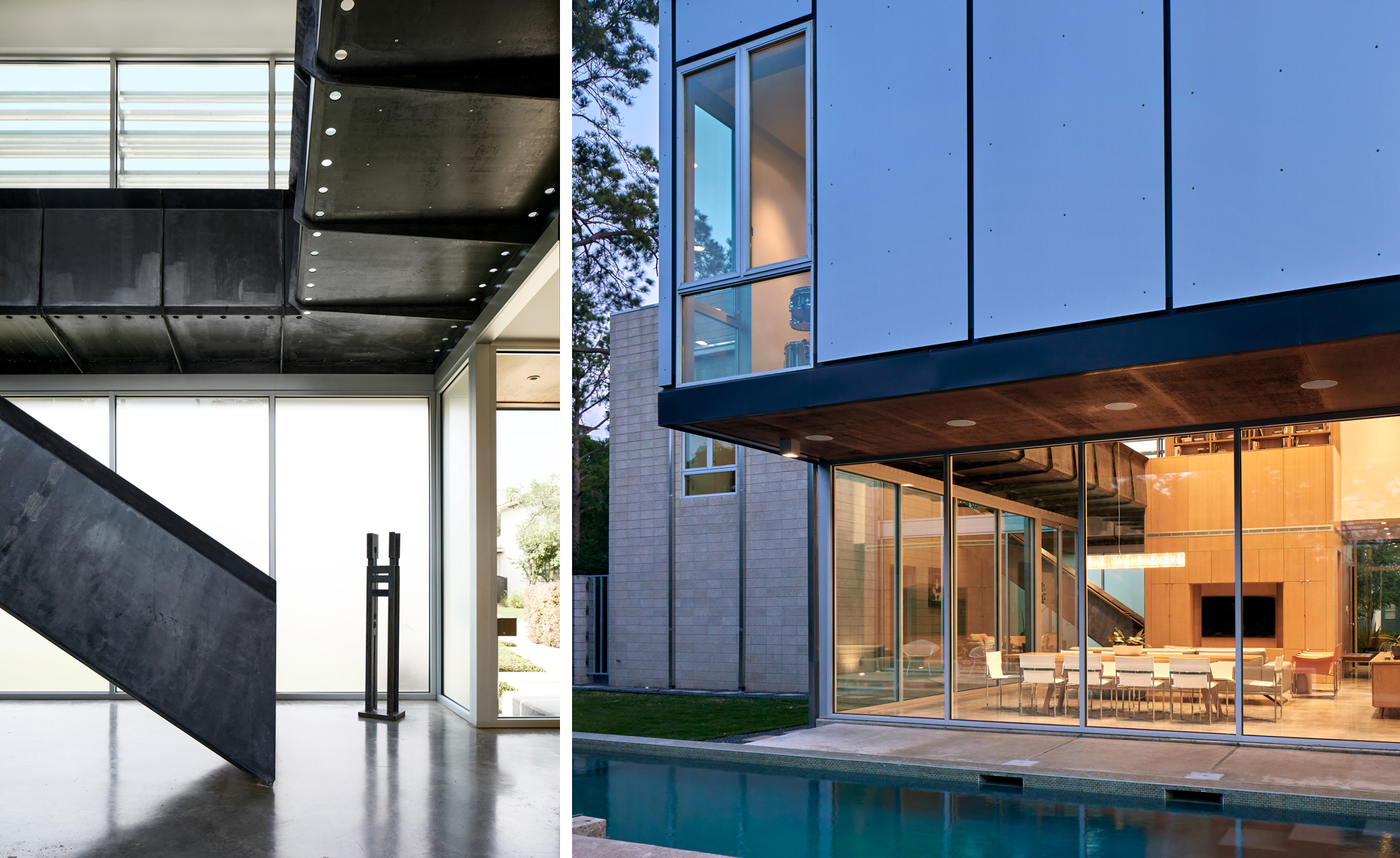 dror baldinger faia Architectural photography modern residence steel stairs metal panels  glass pool