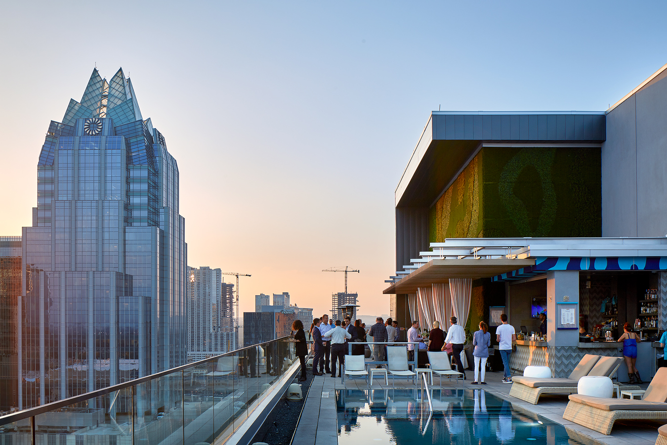 dror baldinger FAIA architectural photography westin hotel Austin rooftop swimming  pool bar evening skyline
